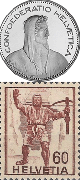 Wilhelm Tell auf Schweizer Fünfliber und Briefmarke